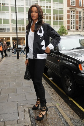 Ciara arrives at BBC Radio in London, England. Looking fab.